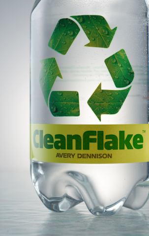 CleanFlake(TM) Portfolio features Roll-Fed Sleeve and pressure-sensitive films that float during the PET recycling process to improve the recycling yields of PET bottles. (Photo: Business Wire)