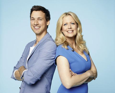 Oral-B Markenbotschafter Florian David Fitz und Barbara Schöneberger (Photo: Business Wire)