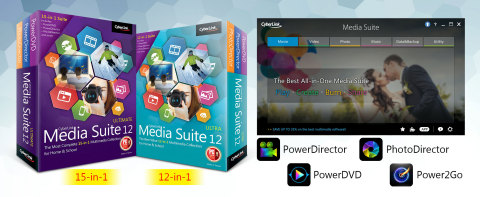 New suite includes the multi award-winning trio of PowerDVD, PowerDirector and PhotoDirector; Media Suite 12 truly satisfies the CREATE & PLAY needs of families and students alike. (Graphic: Business Wire)