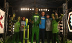 SLIMED AT THE BOOMco. BLASTER CHALLENGE! STEPHEN CURRY AND RUDY GAY HAVE A BLAST WITH BOOMco.™ Today, professional basketball players Stephen Curry and Rudy Gay participated in the BOOMco. Blaster Challenge, as part of Mattel's campaign sponsorship of the Nickelodeon Kids' Choice Sports Awards. (Photo: Business Wire)