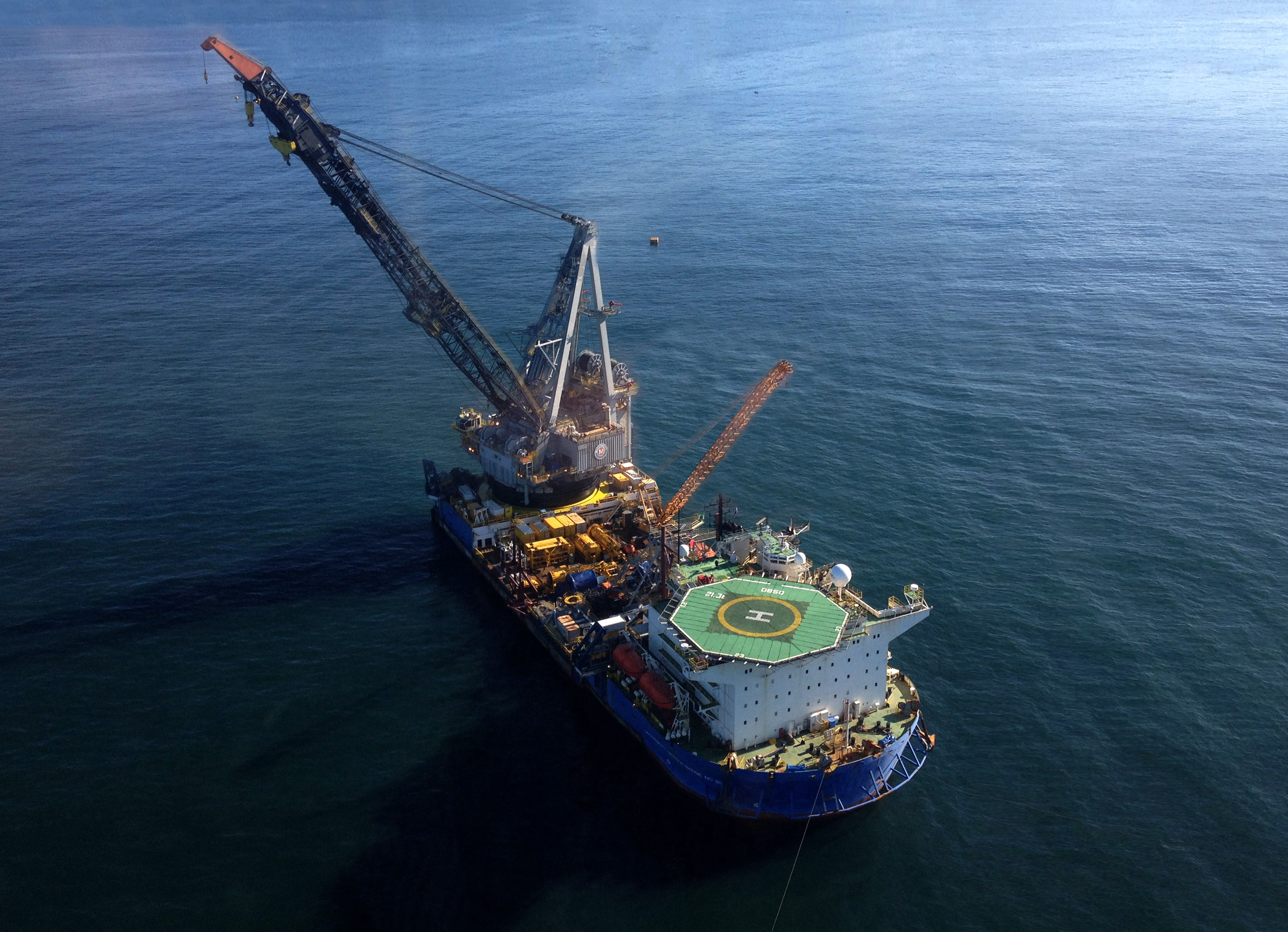 The McDermott heavy-lift vessel, Derrick Barge 50, will install the Megalodon platform in 391 feet of water, over an existing well site in the Gulf of Mexico. (Photo: Business Wire)
