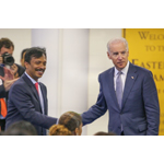 UST Global CEO Sajan Pillai welcomes Vice President Joe Biden to the Detroit class of Step IT Up America (Photo: Business Wire)