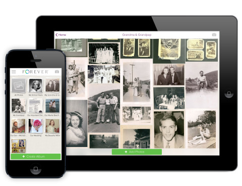 Forever, the world's first permanent online storage and sharing company, announced the release of its award winning iOS App, optimized for iPad and iPhone (Photo: Business Wire)