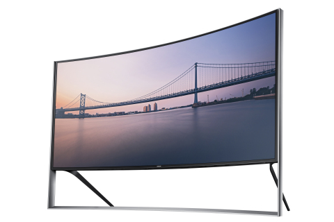 """Samsung Electronics America announces the availability of its award-winning 105"""" Curved UHD TV. It features an impressive 105"""" screen that not only envelops viewers with an immersive curved design, but also provides a movie-theater experience at home. Samsung's 105"""" Curved UHD TV is built to order for $119,999.99 and is available for order beginning this week. (Photo: Business Wire)"""