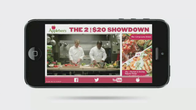 YuMe's Ngage multi-screen ad unit promotes Applebee's 'Flavors of Southwest' campaign.