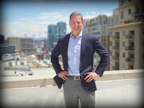 John Winther, Founder & Managing Partner of Harvest Properties on the roof of 55 Hawthorne St, San Francisco