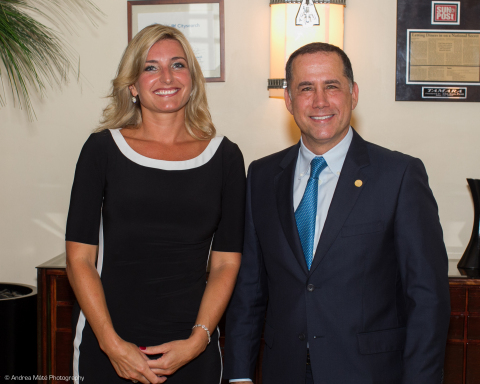 Anita Funtek, CEO Of The Miami New Construction Show, With Miami Beach Mayor Philip Levine At The July 22 Kickoff Event For The 1st Annual Preconstruction Condo Buyers Expo From Aug. 29-31 At The Miami Beach Convention Center. (Photo: Business Wire)