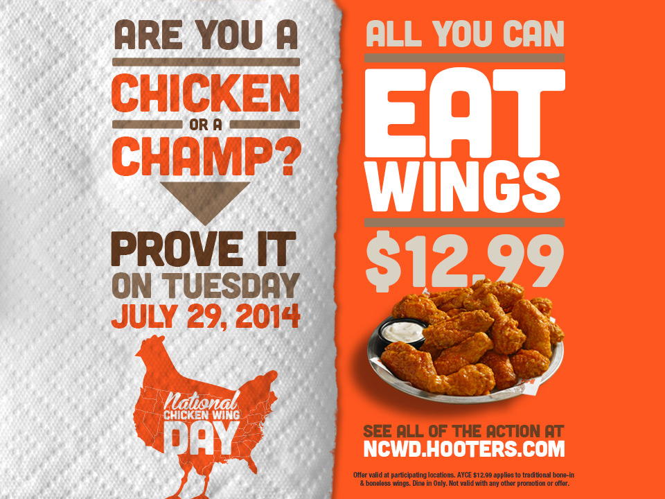 Prove you're a champ not a chicken on National Chicken Wing Day, July 29. Hooters is offering a $12.99 all-you-can-eat wing deal at participating locations across the country. (Graphic: Business Wire)
