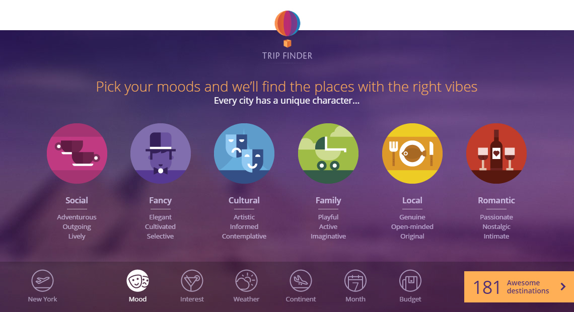 With momondo Trip Finder travelers can explore potential vacation destinations based on interests, budget, weather and travel mood (Graphic: Business Wire)