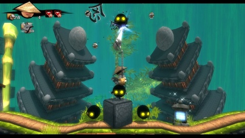 Jump and grapple your way through exotic worlds, dodging obstacles such as fire, collapsing platforms, pits and whirring metal blades in Wooden Sen'SeY. (Photo: Business Wire)