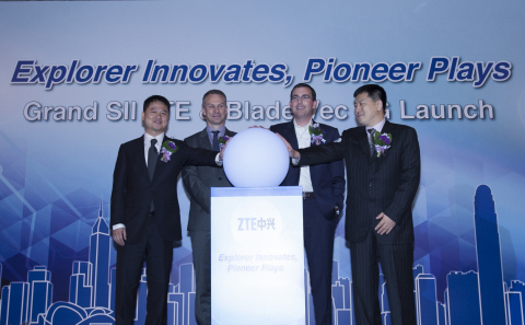 (from left to right): CEO of ZTE Mobile Devices, EVP of ZTE Corporation, Mr. Adam, Zeng Xuezhong; Vice President, Marketing, Qualcomm Technologies, Inc., Mr. Tim McDonough; President of Google Greater China, Mr. Scott Beaumont; CEO of Asia Pacific & CIS Mobile Devices, SVP President of ZTE Corporation, Mr. Jacky, Zhang Shumin, together kick off the launch of two new devices. (Photo: Business Wire)