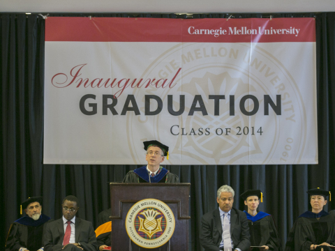 James H. Garrett Jr., dean of Carnegie Mellon's College of Engineering addresses attendees at the program's inaugural graduation held in Rwanda. (Photo: Business Wire)