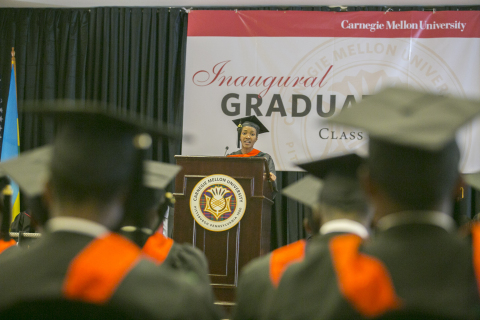 Master's degree graduate Merab Twahirwa addresses fellow students, faculty and attendees at Carnegie Mellon University's inaugural graduation held in Rwanda. (Photo: Business Wire)