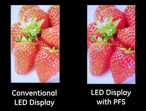 Conventional LED Display vs. LED Display with PFS (Photo: Business Wire)