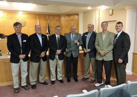 Shown here at the awards ceremony are (from left): Steve Ammons, council pro-tem for Vestavia Hills, Ala.; George Pierce, city council member for Vestavia Hills, Ala.; Rick Carson, account manager - complex sales for Trane; Alberto C. Zaragoza, Jr., mayor of Vestavia Hills, Ala.; John Henley, city council member for Vestavia Hills, Ala.; Jim Sharp, city council member for Vestavia Hills, Ala.; and Chuck Bowers, area manager for Trane. (Photo: Business Wire)