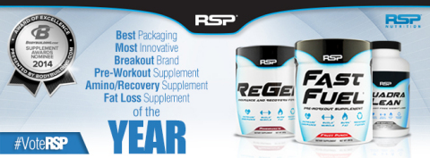 RSP Nutrition has been Nominated for 6 of the bodybuilding.com Yearly Awards! - Best Packaging of the Year - Most Innovative brand of the Year - Breakout Brand of the Year - Pre-workout Supplement of the Year - Fast Fuel - Amino/Recovery Supplement of the Year - Regen - Fat Loss supplement of the Year - RSP QuadraLean Vote for RSP Nutrition at bodybuilding.com/awards! (Graphic: Business Wire)