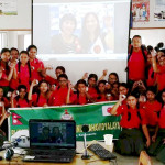 The Nepalese school and the Japanese elementary school were linked together for the remote lesson. (Photo: Business Wire)