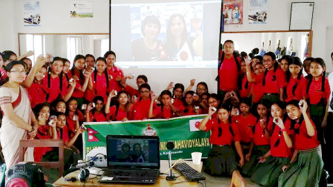 The Nepalese school and the Japanese elementary school were linked together for the remote lesson. ( ...