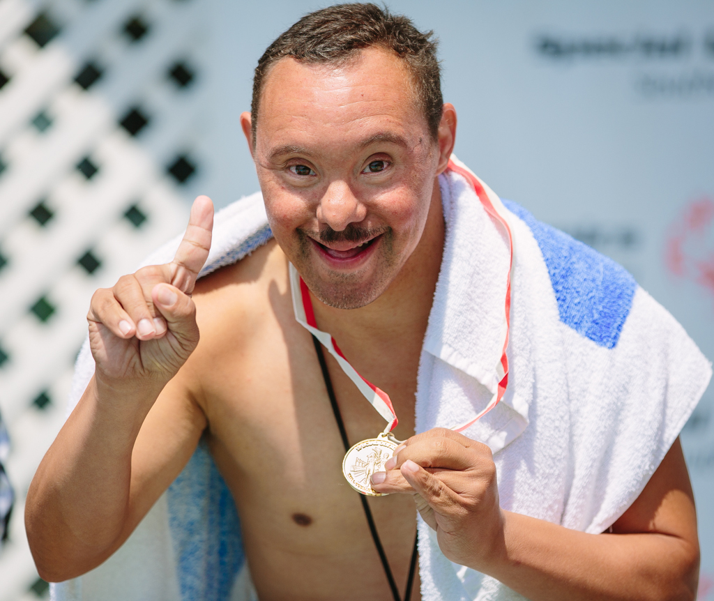 A Special Olympics athlete celebrates the One Year Away milestone for the 2015 World Games (LA2015) to be held July 25, 2015 in Los Angeles. (Photo: Cory Hansen Photography)
