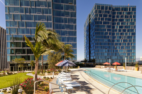 The sky deck pool and garden are among the many amenities at the Vermont, a 464-unit high-rise apartment complex in the Koreatown neighborhood of Los Angeles. (Photo credit: Seth Joel)