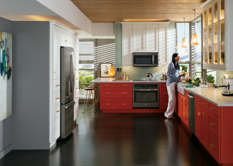 To provide consumers with quality options for the growing trend of using a neutral gray scheme, GE Appliances and Pfister® are introducing new products with Slate finish. (Photo: GE)