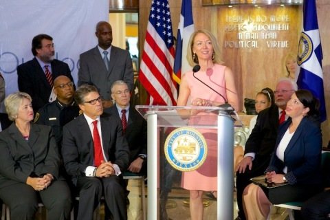 Suzanne Grimes making remarks in Houston at announcement of Texas statewide anti-human trafficking c ...