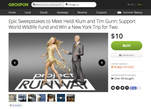 Groupon's Beauty Week features chance to win meet and greet with Heidi Klum and Tim Gunn at Project Runway finale. (Graphic: Business Wire)