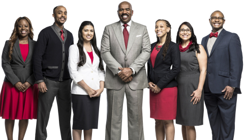 Talk show host and entertainer Steve Harvey (center) teams up with Strayer University -- a leading postsecondary institution for working adults -- to announce 'The Success Project,' a new initiative aimed at sparking a national conversation about what it takes to be successful. The initiative features the rollout of Strayer University Success Coaches (pictured with Steve) to guide students towards personal, professional and academic growth.  (Photo: Business Wire)