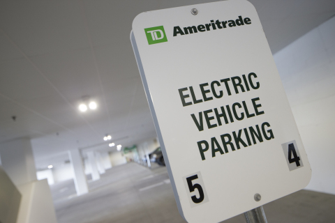TD Ameritrade's electric vehicle parking. Photo courtesy of Bob Ervin Photography.