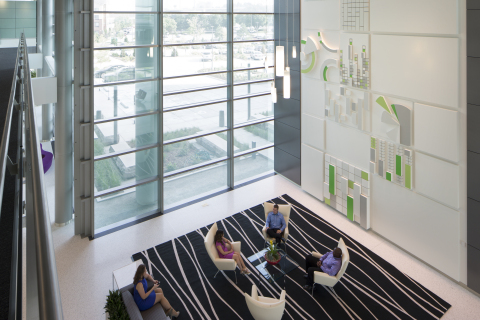 The lobby of TD Ameritrade's LEED Platinum certified headquarters. Photo courtesy of Bob Ervin Photography.