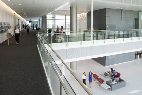 The second floor lobby of TD Ameritrade's LEED Platinum certified headquarters. Photo courtesy of Bob Ervin Photography.