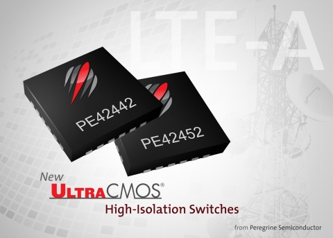 Peregrine's new UltraCMOS® high-isolation switches, the PE42442 and the PE42452, address emerging requirements in wireless infrastructure equipment. (Photo: Business Wire)