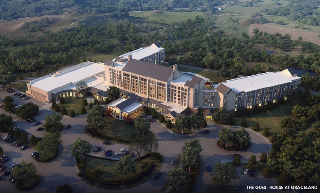 """Priscilla Presley will join fans for an August 14 groundbreaking at the site of a new hotel at Graceland that will serve visitors who travel to Memphis to tour the famous home of the King of Rock 'n' Roll. The full service 450-room hotel, called """"The Guest House at Graceland,"""" will be constructed along Elvis Presley Boulevard on the same side of the street as the landmark mansion on land acquired by EPE in 1994. The new hotel will feature spacious rooms and a range of elegant and contemporary facilities, including two restaurants, meeting and special events space, and a 500-seat theater for live performances. (Photo: Business Wire)"""