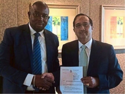 Guinea's Minister of Trade with KGV's Executive Director after signing the agreement. (Photo: Business Wire)