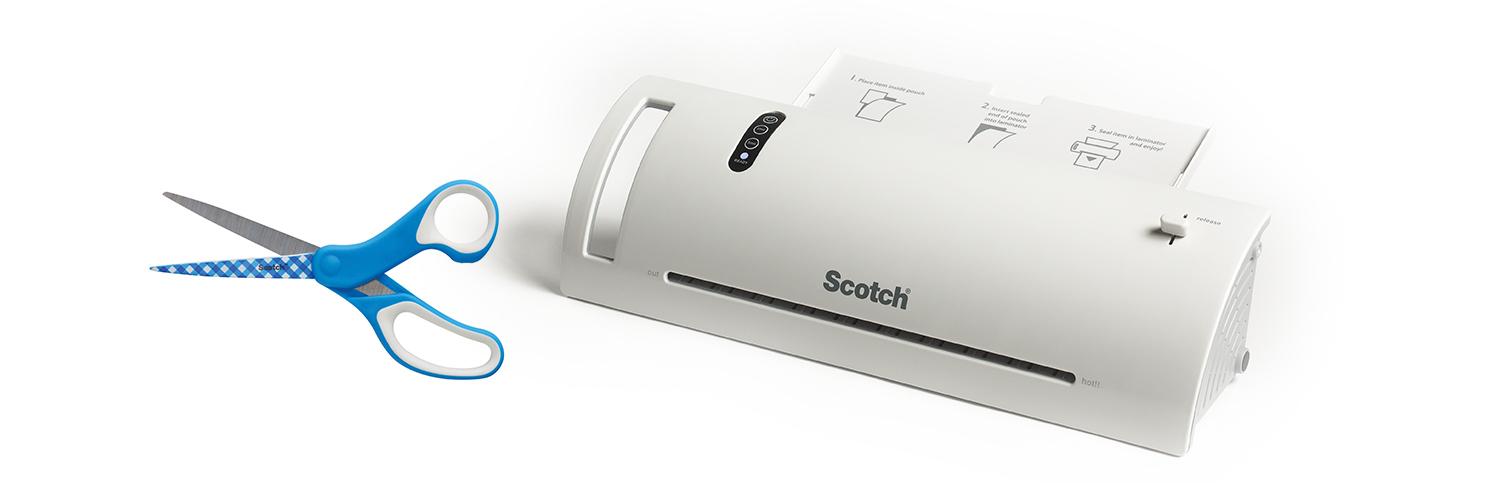 Scotch Designer Multi-Purpose Scissors in Gingham Print and Scotch TL902 Thermal Laminator. (Photo: Scotch Brand)