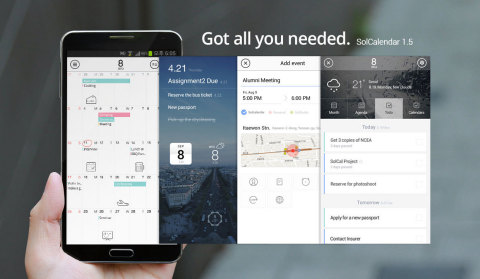 Daum Communications released the latest version of SolCalendar for all users around the world. SolCalendar 1.5 includes, To-do and To-do Widget, Google Maps & Foursquare Integration, Countdown, Date & Shortcut widgets, Simple Stickers Package, Clear & Simple UX/UI (Graphic: Business Wire)