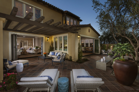 A Kb Home Patio With Outdoor Fireplace Modeled At Kb Home
