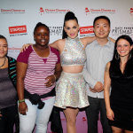 "Global pop star Katy Perry, center, with local teachers and students, left to right, Tajia Reverdes, Janile Campbell, Yu Chen and Amanda Robb backstage at the TD Garden during her Prismatic World Tour performance on Fri., Aug 1 in Boston, Mass. Staples teamed up with superstar Katy Perry to ""Make Roar Happen"" and support teachers during the back-to-school season by donating $1 million to DonorsChoose.org, a charity that has helped fund more than 450,000 classroom projects for teachers and impacted more than 11 million students. (Photo by Marc Andrew Deley/Invision for Staples/AP Images)"