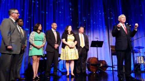 L-R Matt Polka, President, American Cable Association; Kevan Cooper, Emerging Products Manager for Comporium SMA Solutions; Amanda Alexander, Comporium Marketing Product Coordinator III; Karl Skroban, Comporium Director of Video Content; Amy Maclean, Cablefax Editor-in-Chief; John Barnes, Comporium Executive Vice President of Marketing and Business Solutions; Bill Beaty, Comporium Executive Vice President of Cable TV (Photo: Business Wire)