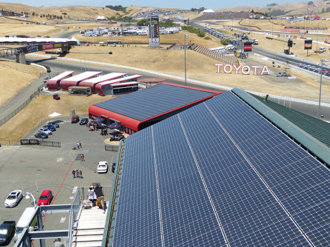 Panasonic has helped Sonoma Raceway reduce its environmental impact by installing a Solar Power Generating System that supplies approximately 40% of the circuit's power needs. (Photo: Business Wire)