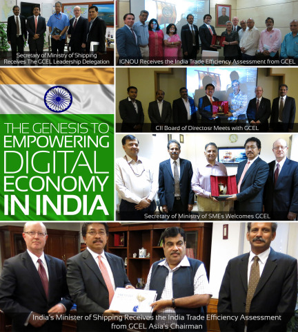 India's Minister of Shipping Receives the India Trade Efficiency Assessment from GCEL Asia's Chairman (Photo: Business Wire)