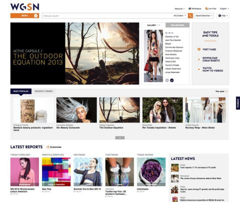 New WGSN Homepage