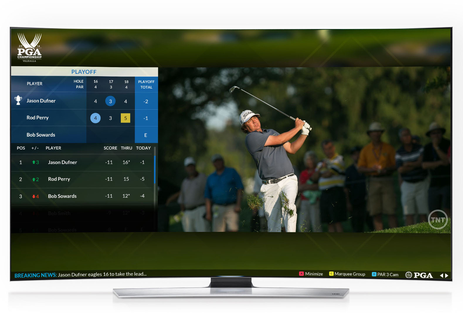 The PGA Championship TV App is the first-ever event-based golf experience app designed for the Samsung Smart TV platform, offering a new and interactive way for golf fans to immerse themselves in the PGA Championship (August 7-10). Available on 2013 and 2014 Samsung Smart TVs, like the flagship HU9000 Curved UHD TV (pictured), the new app, developed in collaboration with Turner Sports, gives viewers access to not only scoring, player and course information, but also exclusive behind-the-scenes and tournament-related content from the PGA Championship. (Photo: Business Wire)
