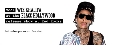 Followers of Groupon.com on Snapchat will get access to an epic Wiz Khalifa deal within the next 7 days that includes airfare to Colorado, tickets to concert at Red Rocks Amphitheatre, hotel accommodations and meet-and-greet with Wiz for $4.20. (Graphic: Business Wire)
