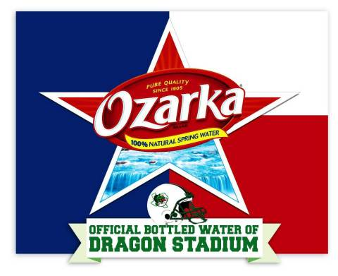 On Monday, August 4, Ozarka® Brand 100% Natural Spring Water announced it will be the official bottled water of the school's football program and Dragon Stadium. (Graphic: Business Wire)