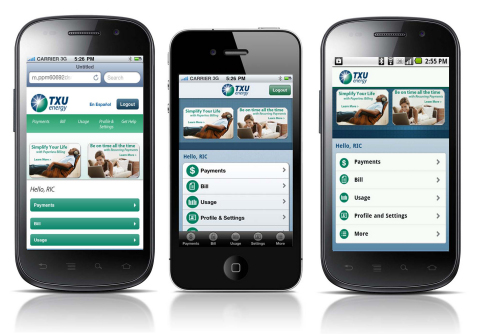 TXU Energy mobile Web site, iPhone app and Android app. (Photo: Business Wire)