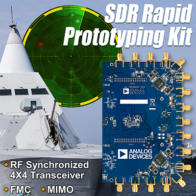 Analog Devices, Inc. released today the industry's first software-defined radio (SDR) rapid prototyping kit with dual 2 x 2 AD9361 RF transceivers to simplify and rapidly prototype 4 x 4 multiple-input multiple-output (MIMO) wireless transceiver applications on the Xilinx® Zynq®-7000 All Programmable SoC development platforms. The AD-FMCOMMS5-EBZ rapid prototyping kit provides a hardware/software ecosystem solution addressing the challenges of SDR transceiver synchronization experienced by RF and analog designers when implementing systems using MIMO architectures. (Graphic: Business Wire)