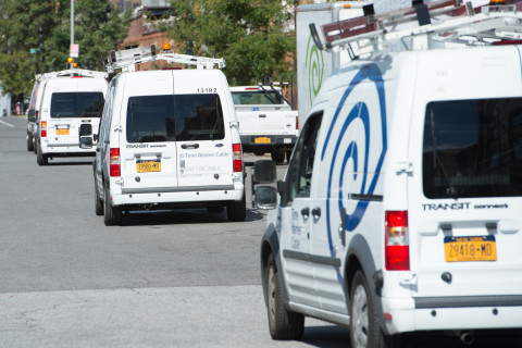 """Time Warner Cable is replacing its fleet with fuel efficient vehicles, such as those pictured here in New York City, as part of the company's """"Go Green"""" initiative. (Photo: Business Wire)"""