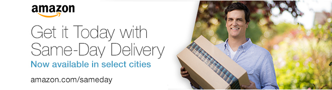 Amazon Same-Day Delivery available for customers in Baltimore, Dallas, Indianapolis, Los Angeles, New York City, Philadelphia, Phoenix, San Francisco, Seattle and Washington DC metro areas. Customers can order as late as noon, seven days a week and get things like popular movies, video games, last-minute travel needs, back-to-school supplies and family necessities delivered to their home the same day. Prime members pay $5.99 for all the same-day delivery items they can order. Learn more about Amazon Same-Day Delivery by visiting www.amazon.com/sameday. (Photo: Business Wire)