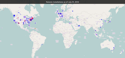 Nutanix Installations as of July 31, 2014 (Graphic: Business Wire)